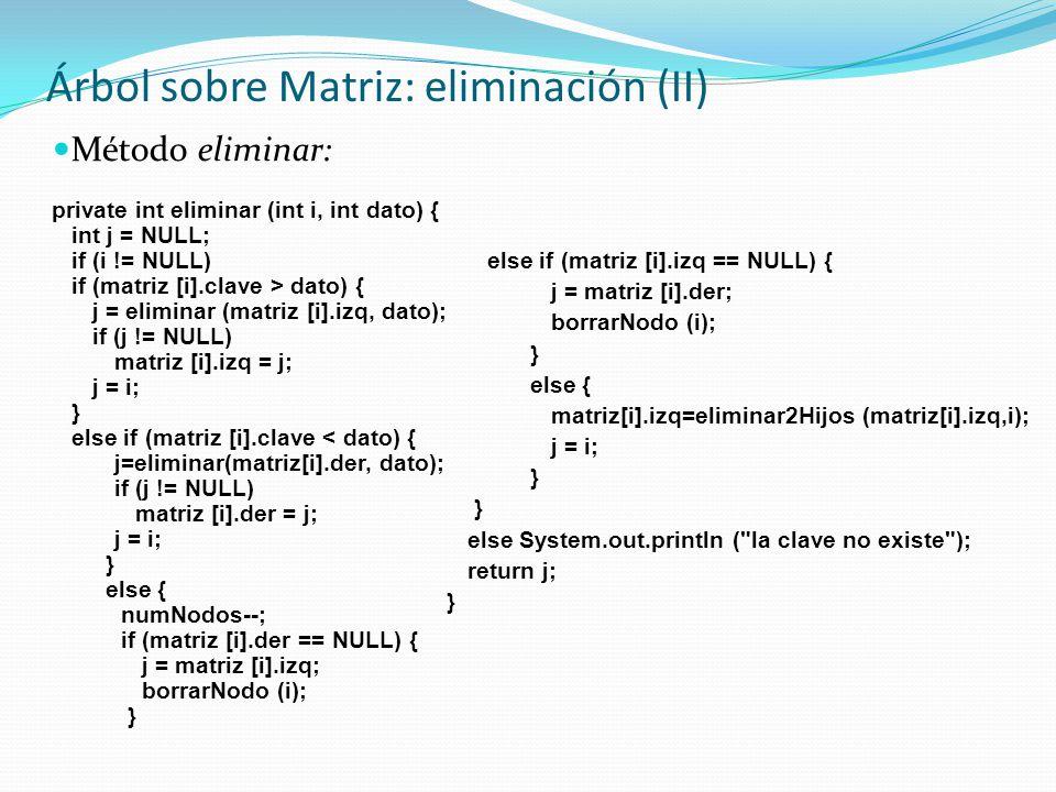 Árbol sobre Matriz: eliminación (II)