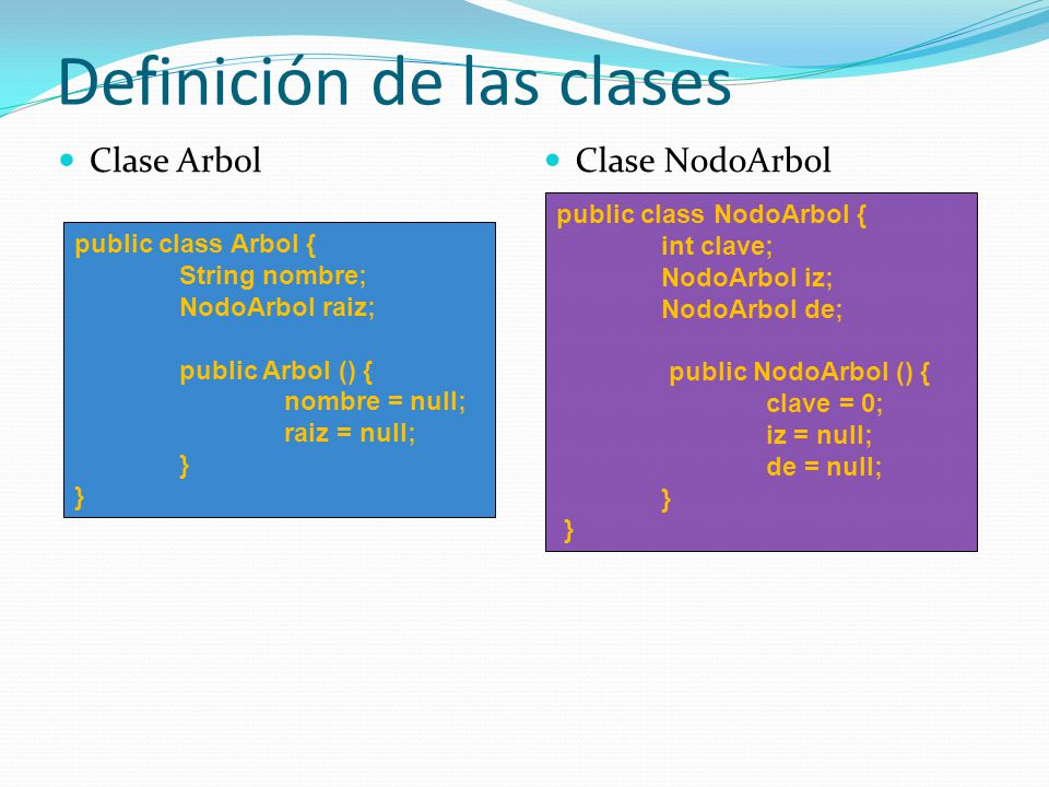 Definición de las clases