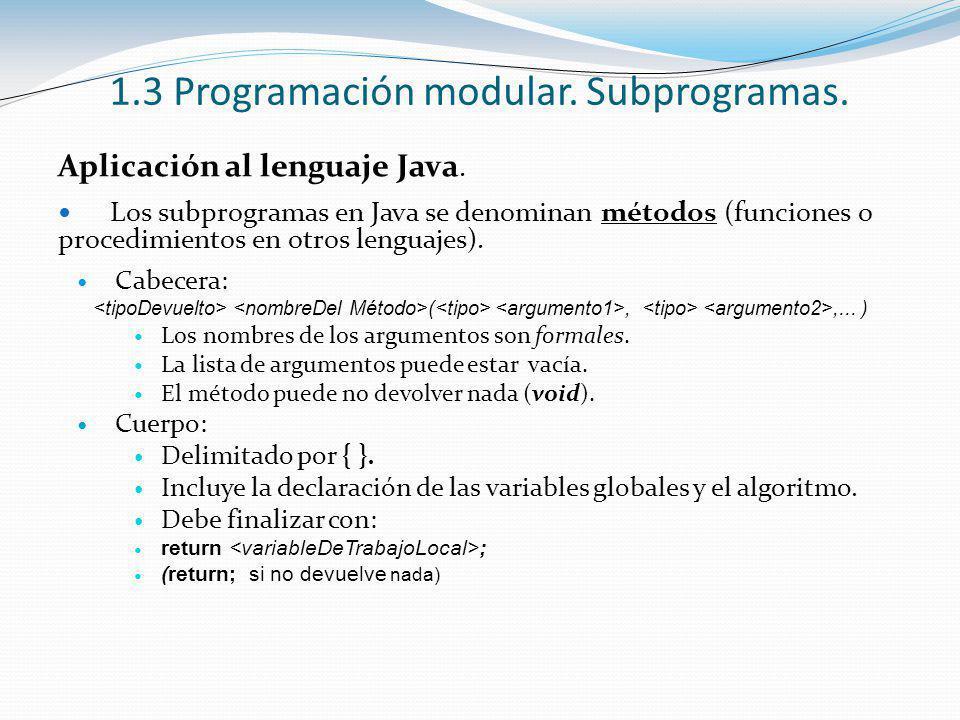 1.3 Programación modular. Subprogramas.