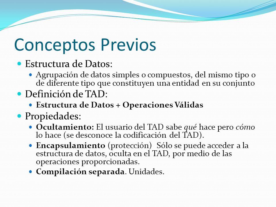 Conceptos Previos Estructura de Datos: Definición de TAD: Propiedades: