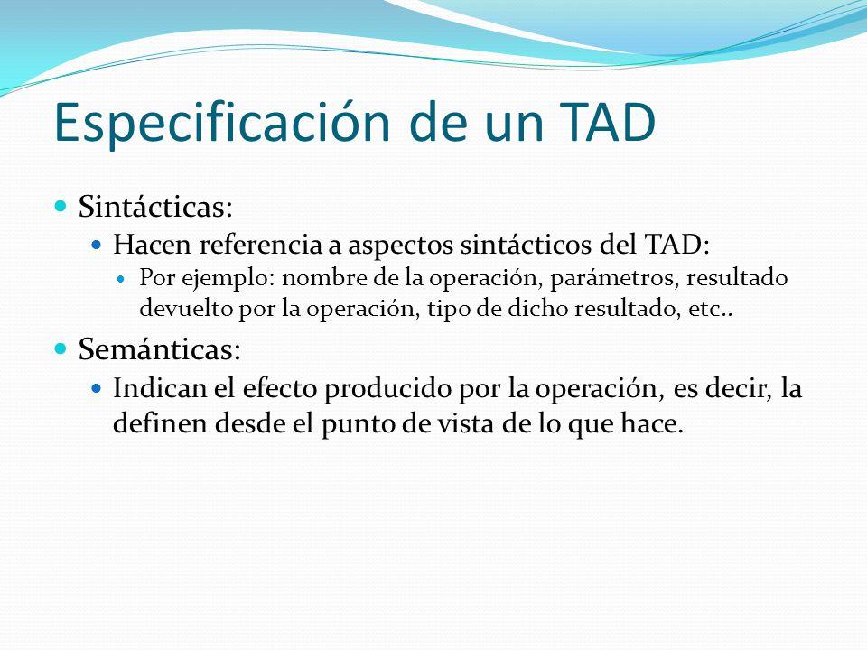 Especificación de un TAD