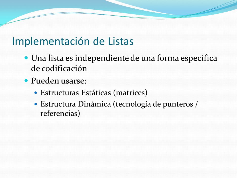Implementación de Listas