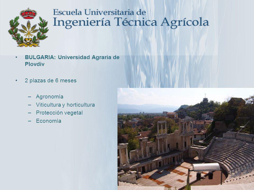 BULGARIA: Universidad Agraria de Plovdiv