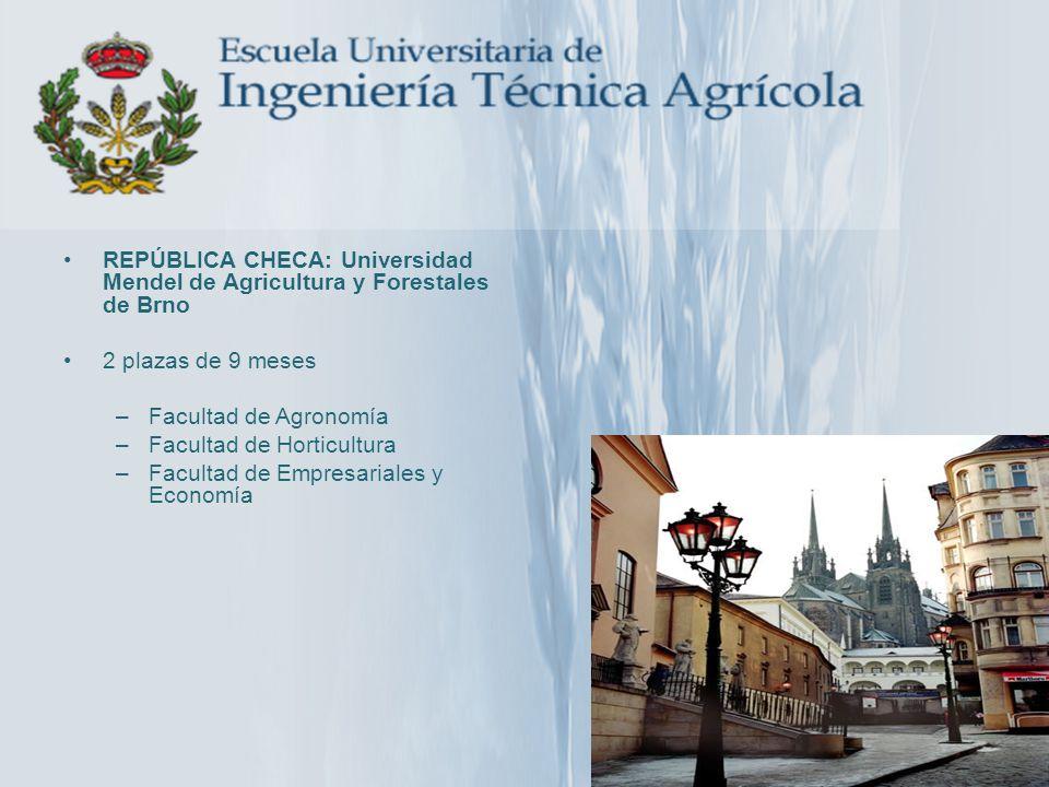 REPÚBLICA CHECA: Universidad Mendel de Agricultura y Forestales de Brno