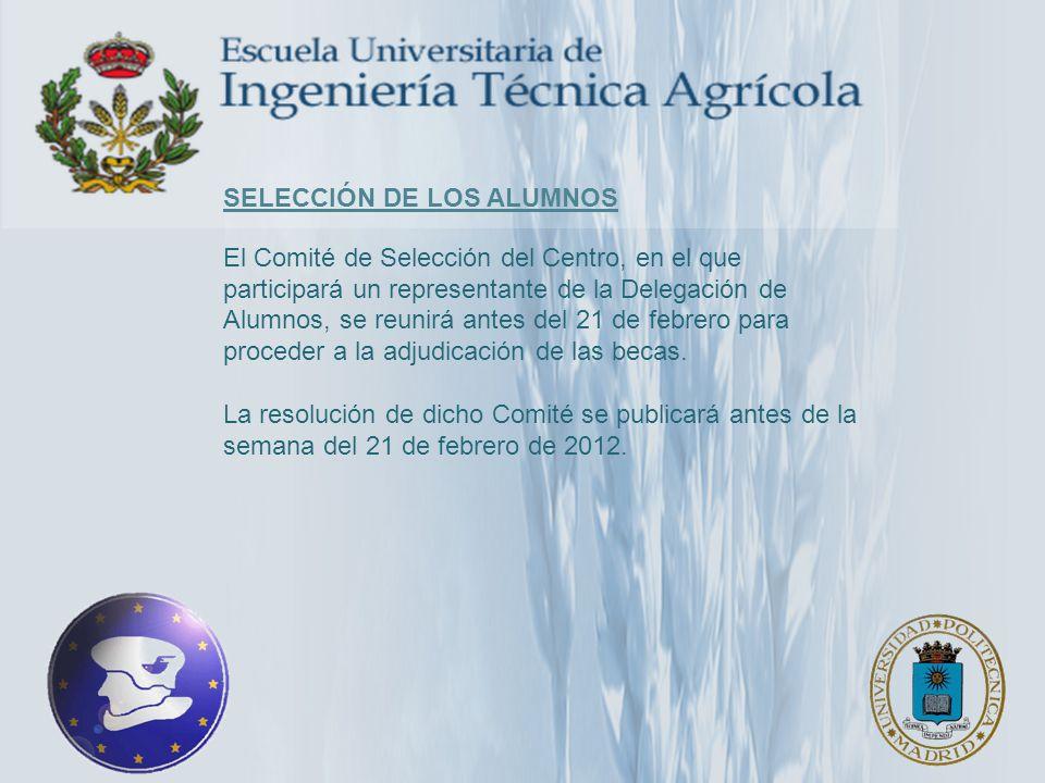 selección de los alumnos El Comité de Selección del Centro, en el que participará un representante de la Delegación de Alumnos, se reunirá antes del 21 de febrero para proceder a la adjudicación de las becas.