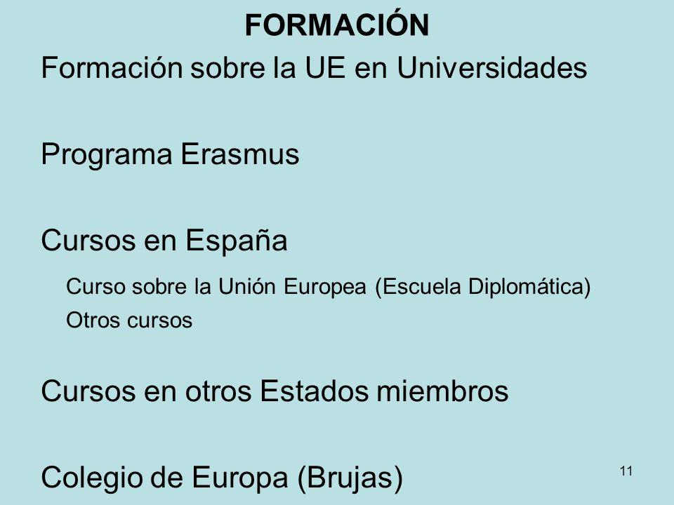 Formación sobre la UE en Universidades Programa Erasmus