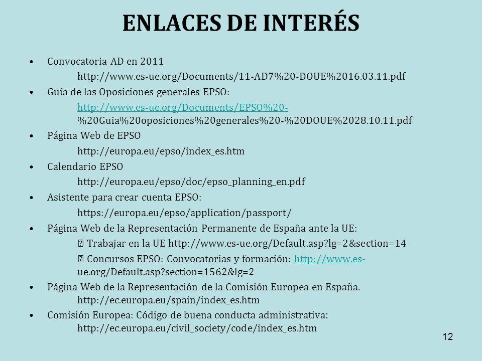 ENLACES DE INTERÉS Convocatoria AD en 2011