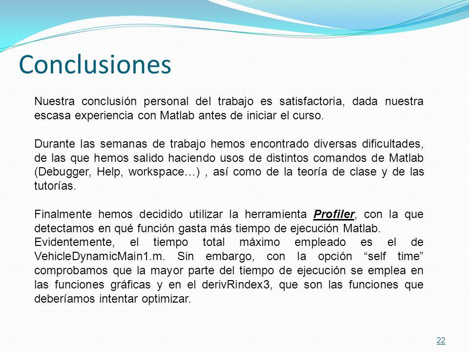 Conclusiones Nuestra conclusión personal del trabajo es satisfactoria, dada nuestra escasa experiencia con Matlab antes de iniciar el curso.