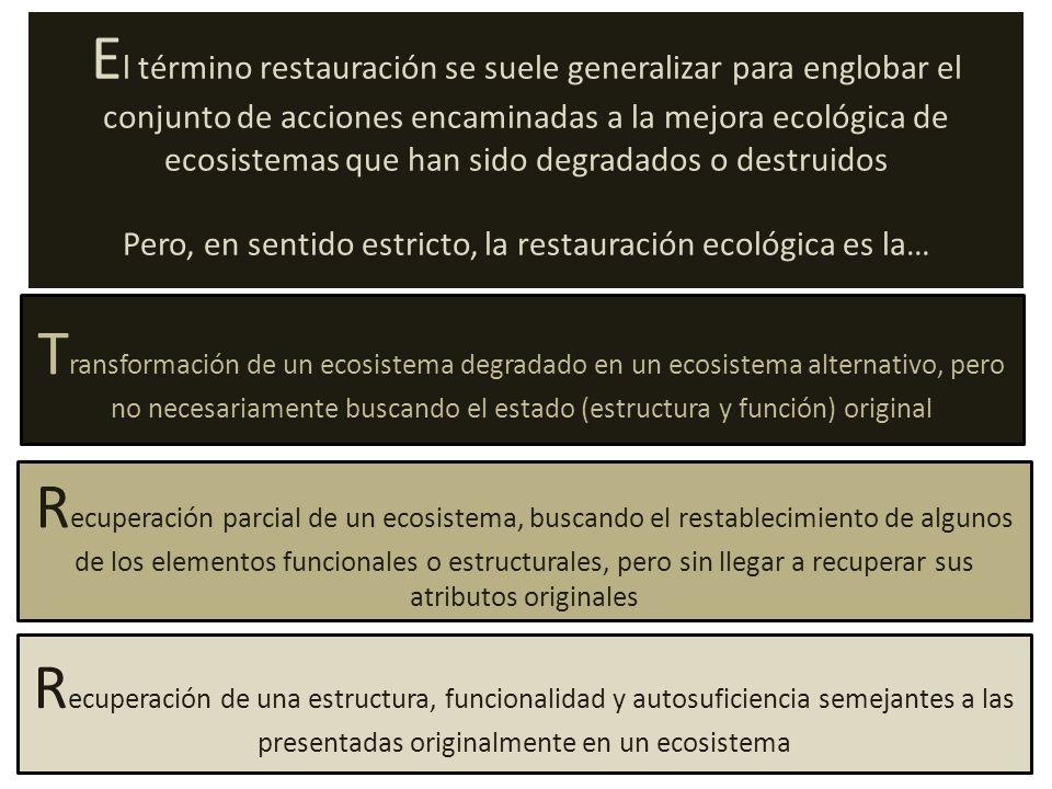 Pero, en sentido estricto, la restauración ecológica es la…