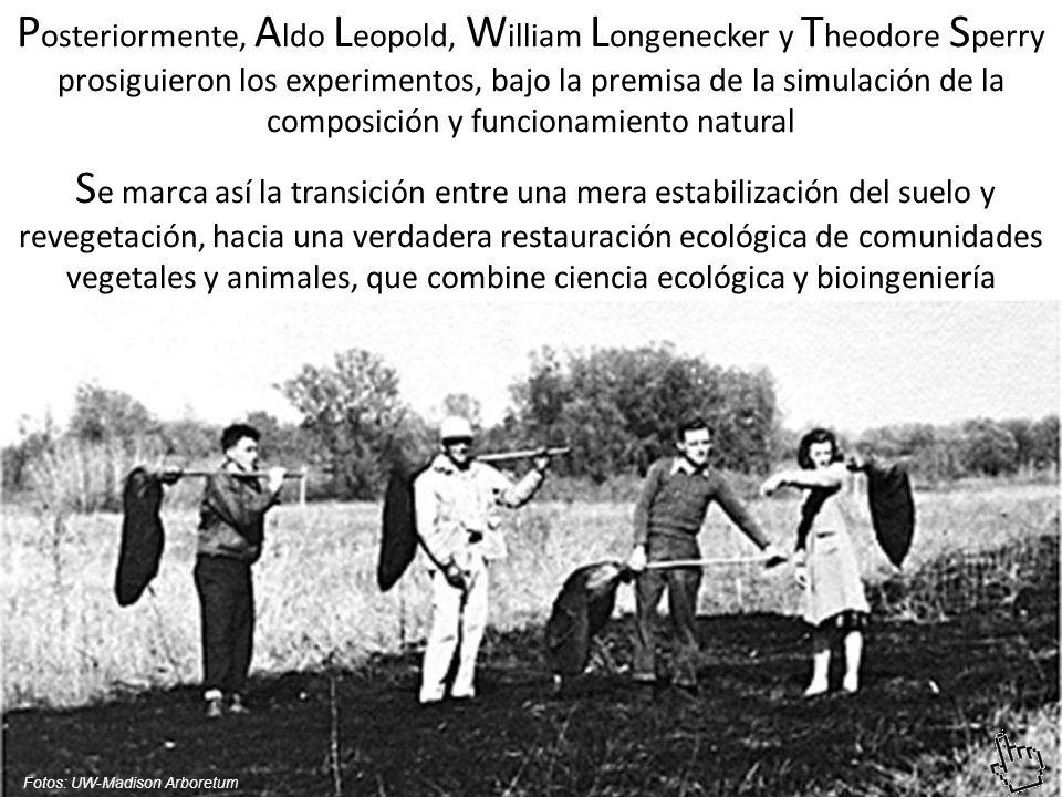 Posteriormente, Aldo Leopold, William Longenecker y Theodore Sperry prosiguieron los experimentos, bajo la premisa de la simulación de la composición y funcionamiento natural