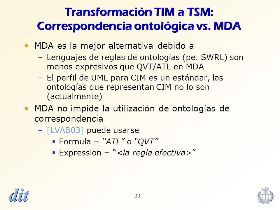 Transformación TIM a TSM: Correspondencia ontológica vs. MDA