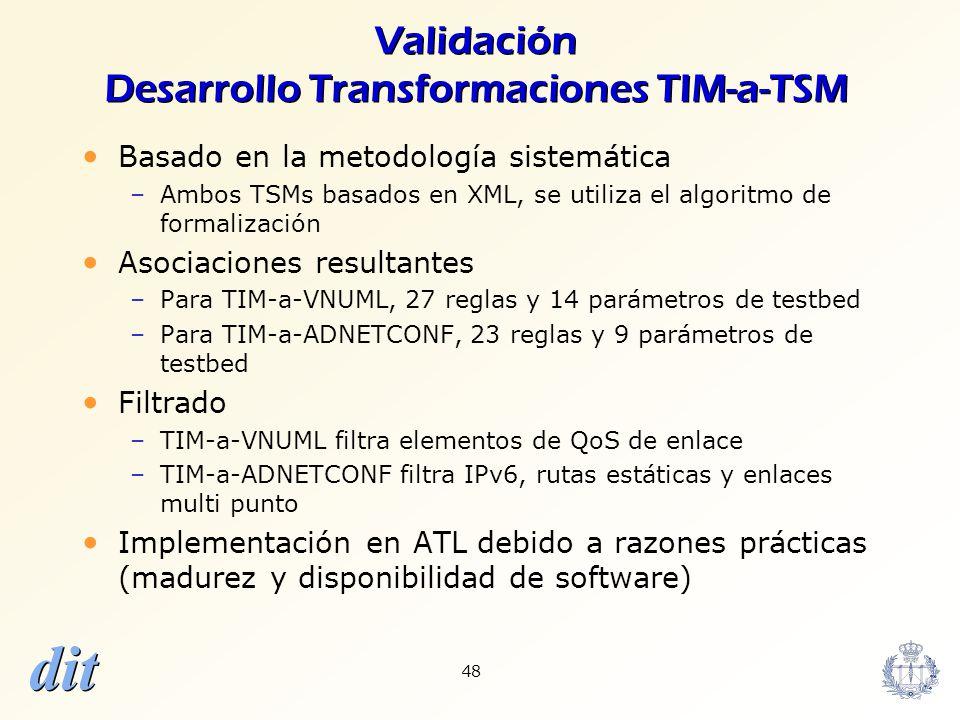 Validación Desarrollo Transformaciones TIM-a-TSM