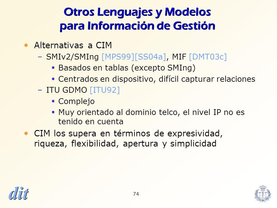 Otros Lenguajes y Modelos para Información de Gestión