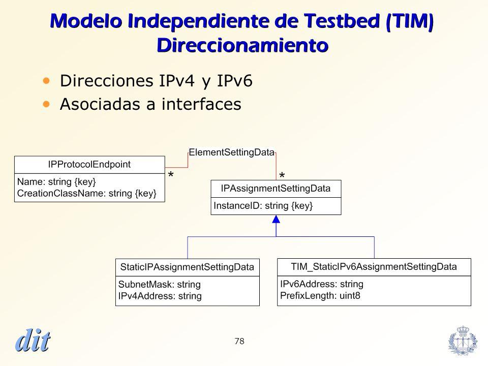 Modelo Independiente de Testbed (TIM) Direccionamiento