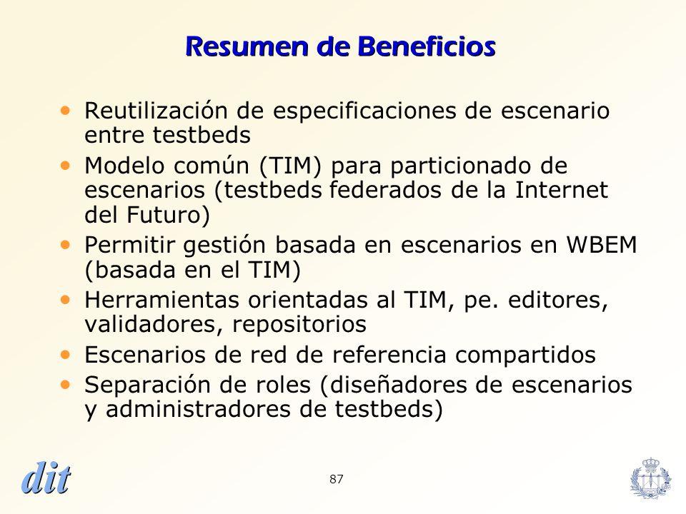Resumen de Beneficios Reutilización de especificaciones de escenario entre testbeds.