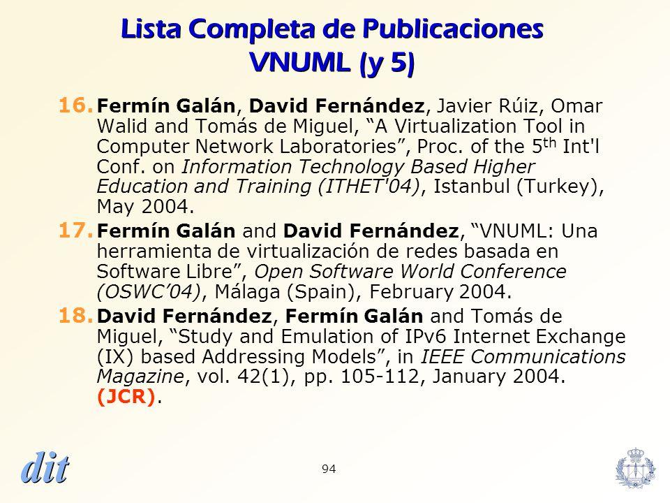Lista Completa de Publicaciones VNUML (y 5)