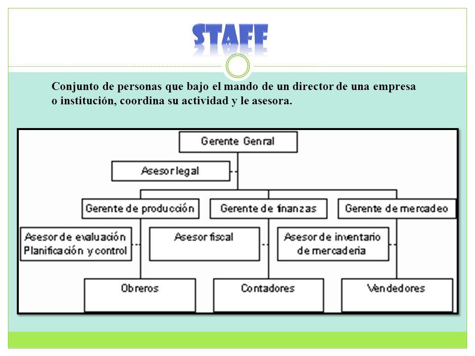 STAFF Conjunto de personas que bajo el mando de un director de una empresa o institución, coordina su actividad y le asesora.