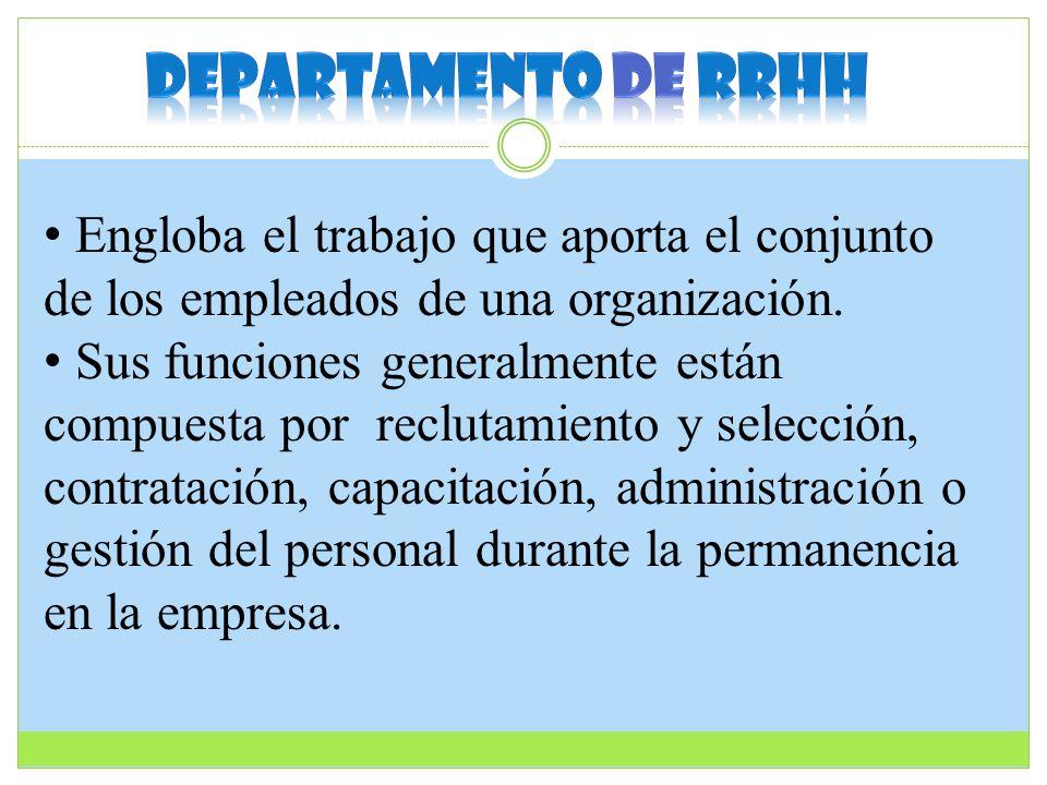 Departamento de rrhh Engloba el trabajo que aporta el conjunto de los empleados de una organización.