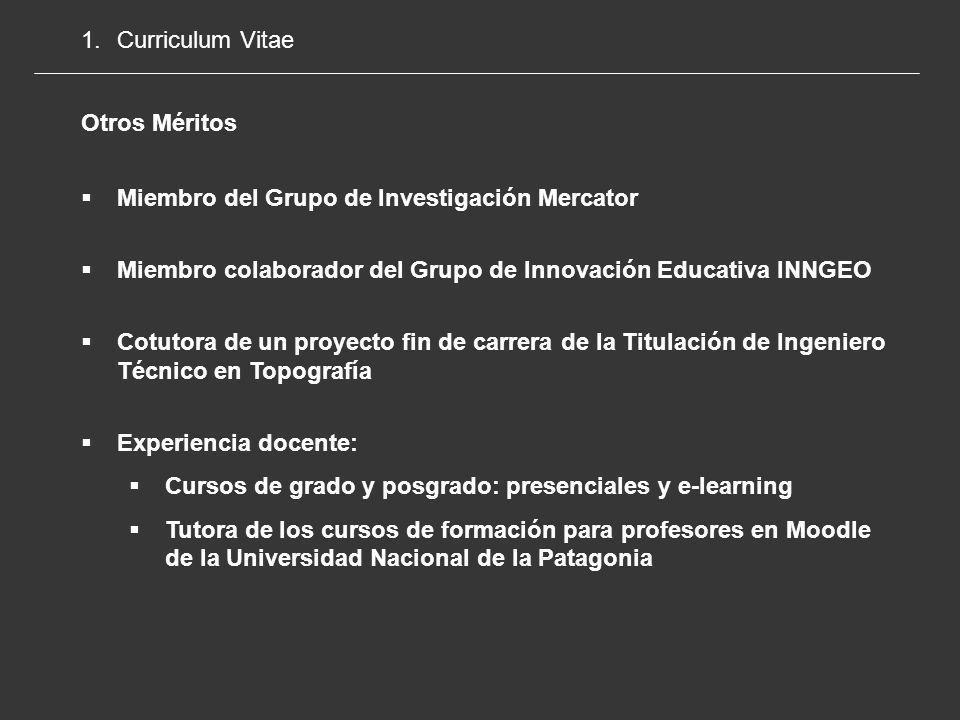 Curriculum Vitae Otros Méritos. Miembro del Grupo de Investigación Mercator. Miembro colaborador del Grupo de Innovación Educativa INNGEO.