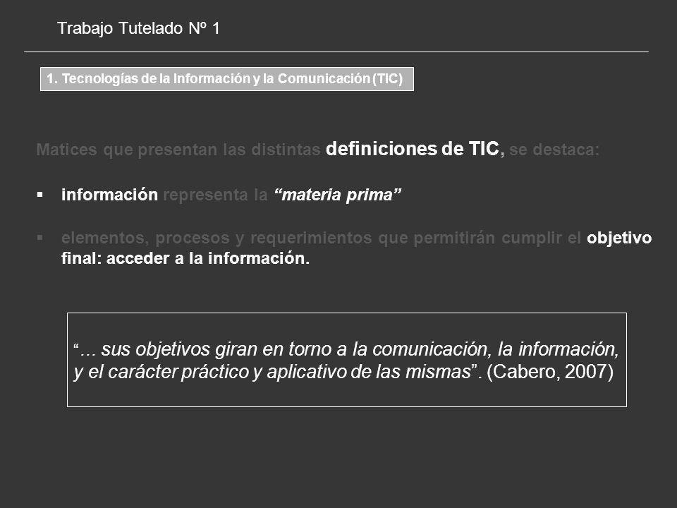 Matices que presentan las distintas definiciones de TIC, se destaca: