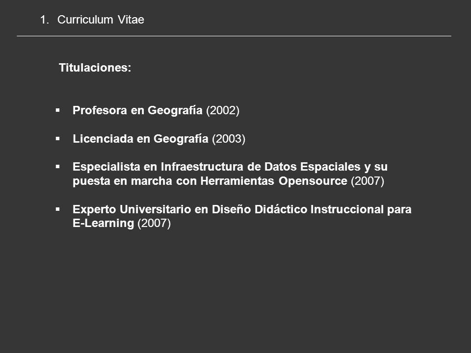 Curriculum Vitae Titulaciones: Profesora en Geografía (2002) Licenciada en Geografía (2003)