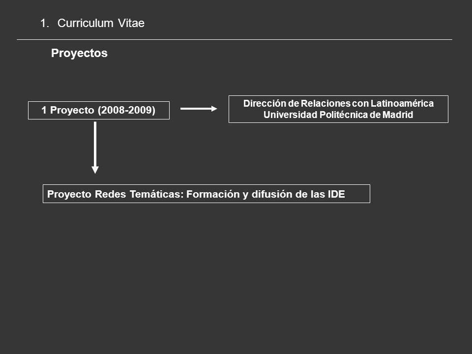 Curriculum Vitae Proyectos 1 Proyecto (2008-2009)