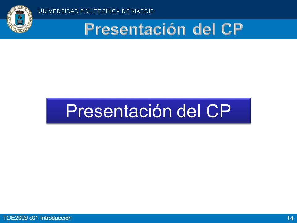 Presentación del CP Presentación del CP