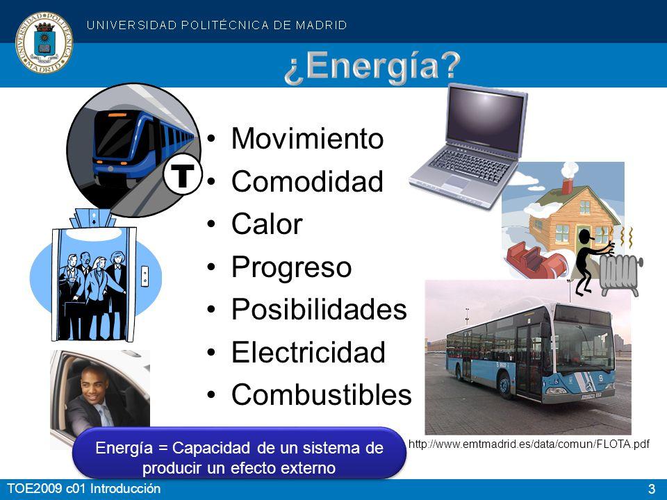 Energía = Capacidad de un sistema de producir un efecto externo