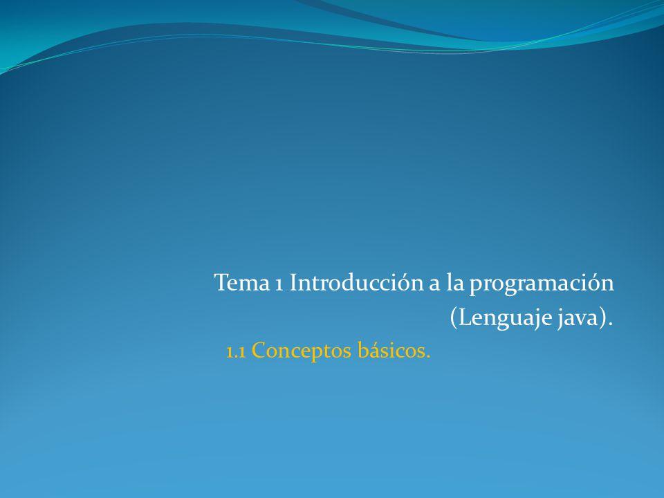 Tema 1 Introducción a la programación (Lenguaje java).