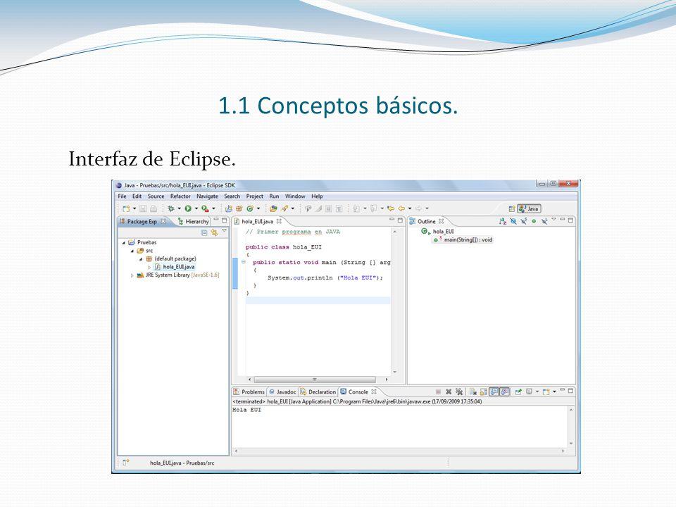 1.1 Conceptos básicos. Interfaz de Eclipse.