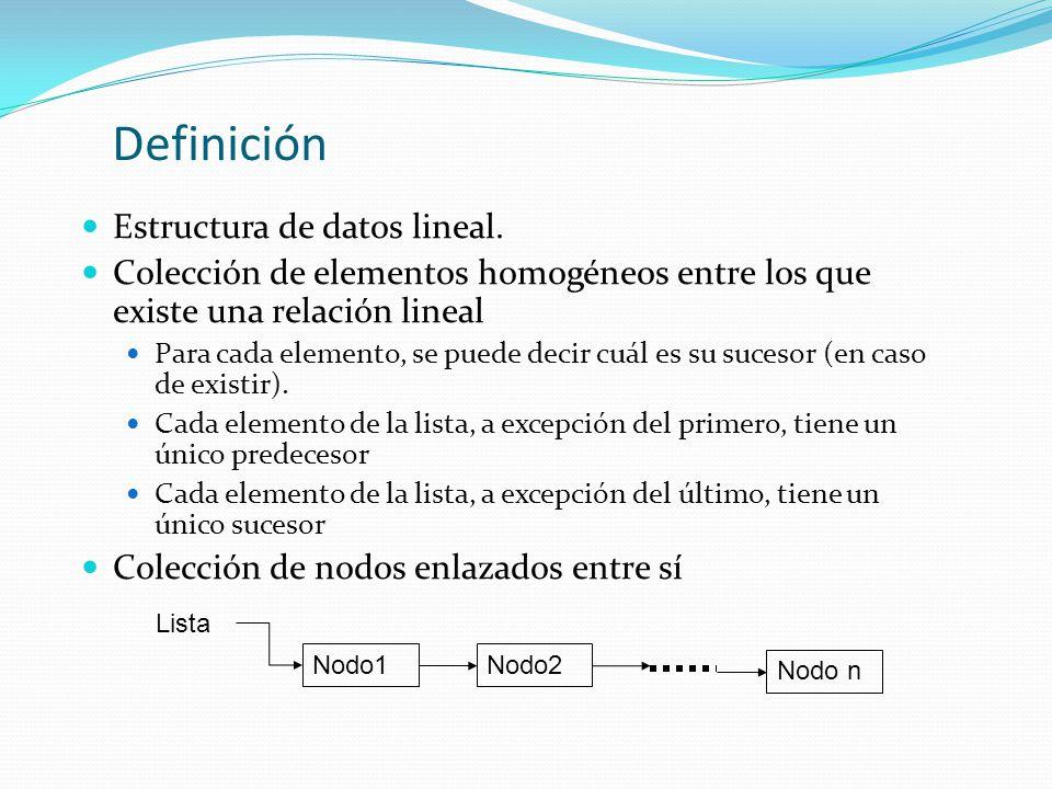 Definición Estructura de datos lineal.