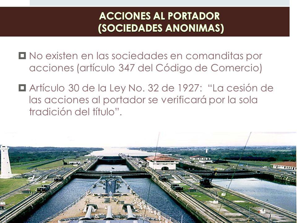 ACCIONES AL PORTADOR (SOCIEDADES ANONIMAS)