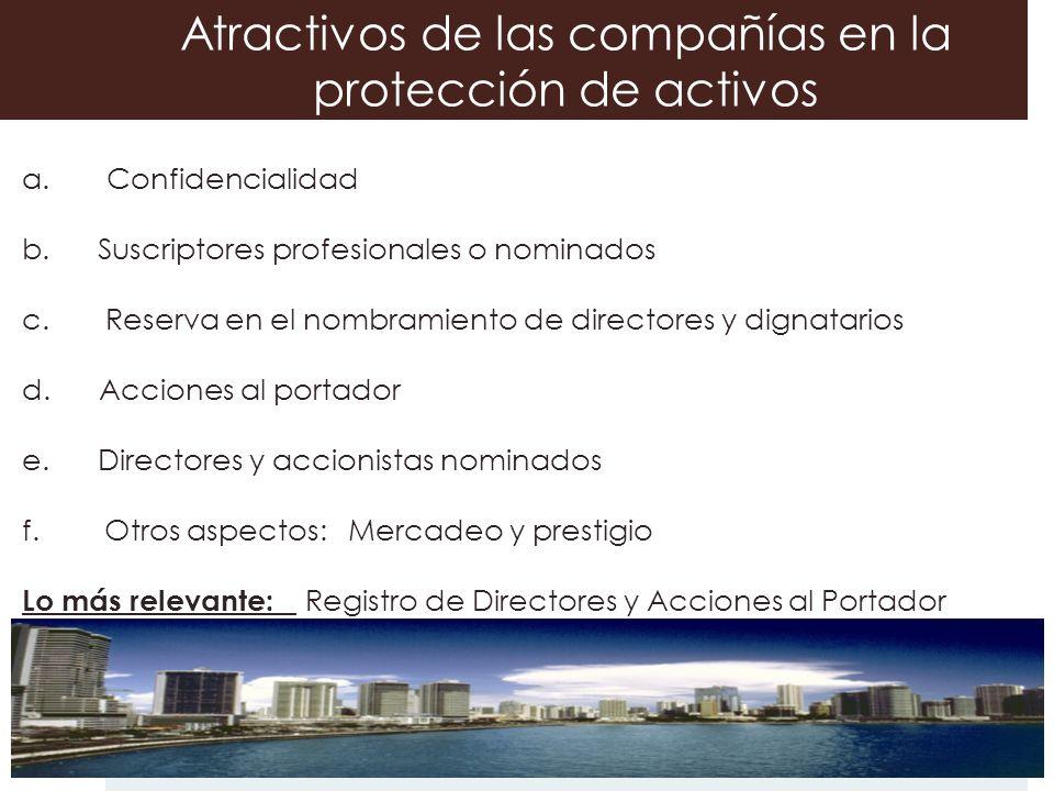 Atractivos de las compañías en la protección de activos