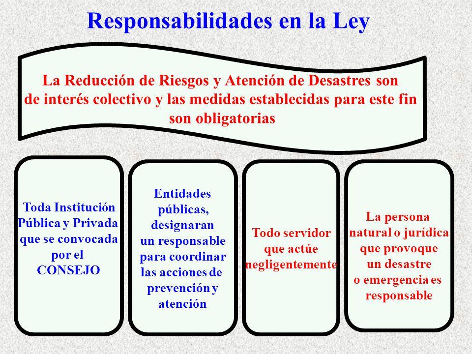 Responsabilidades en la Ley