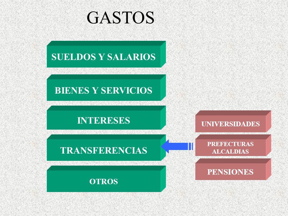 GASTOS SUELDOS Y SALARIOS BIENES Y SERVICIOS INTERESES TRANSFERENCIAS