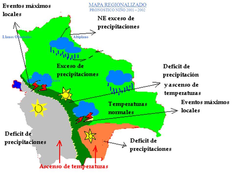 MAPA REGIONALIZADO PRONOSTICO NIÑO 2001 – 2002