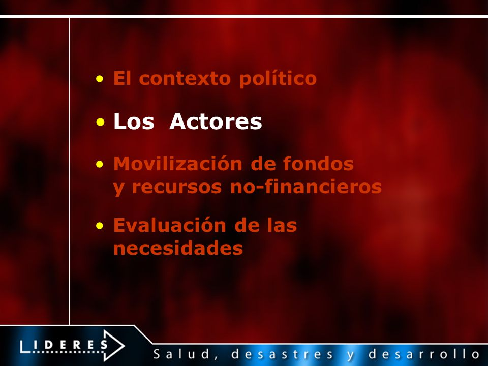 Los Actores El contexto político