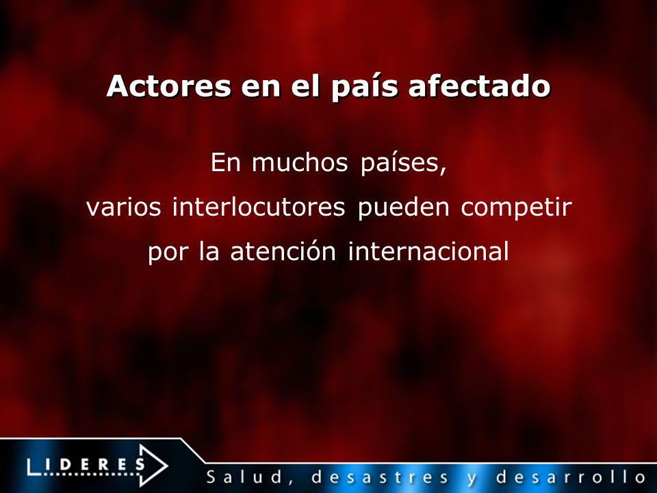 Actores en el país afectado