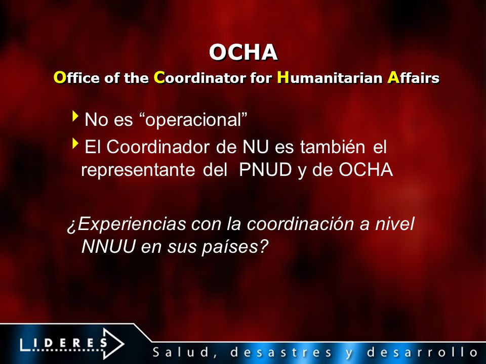 OCHA Office of the Coordinator for Humanitarian Affairs