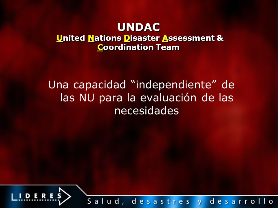 UNDAC United Nations Disaster Assessment & Coordination Team