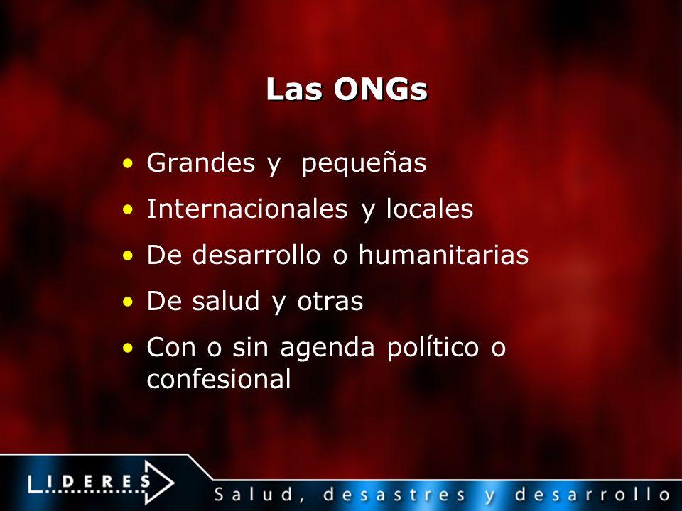 Las ONGs Grandes y pequeñas Internacionales y locales