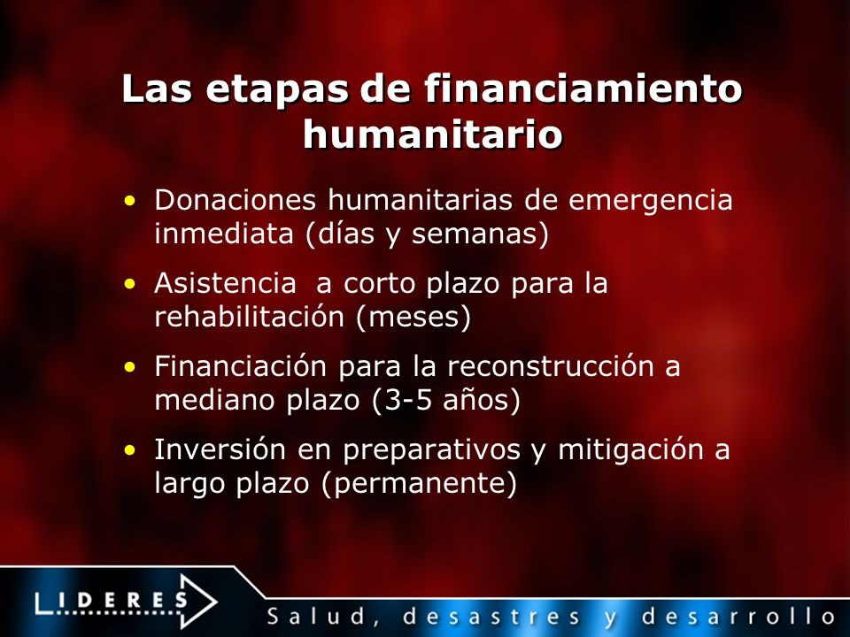 Las etapas de financiamiento humanitario