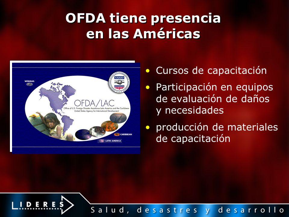 OFDA tiene presencia en las Américas