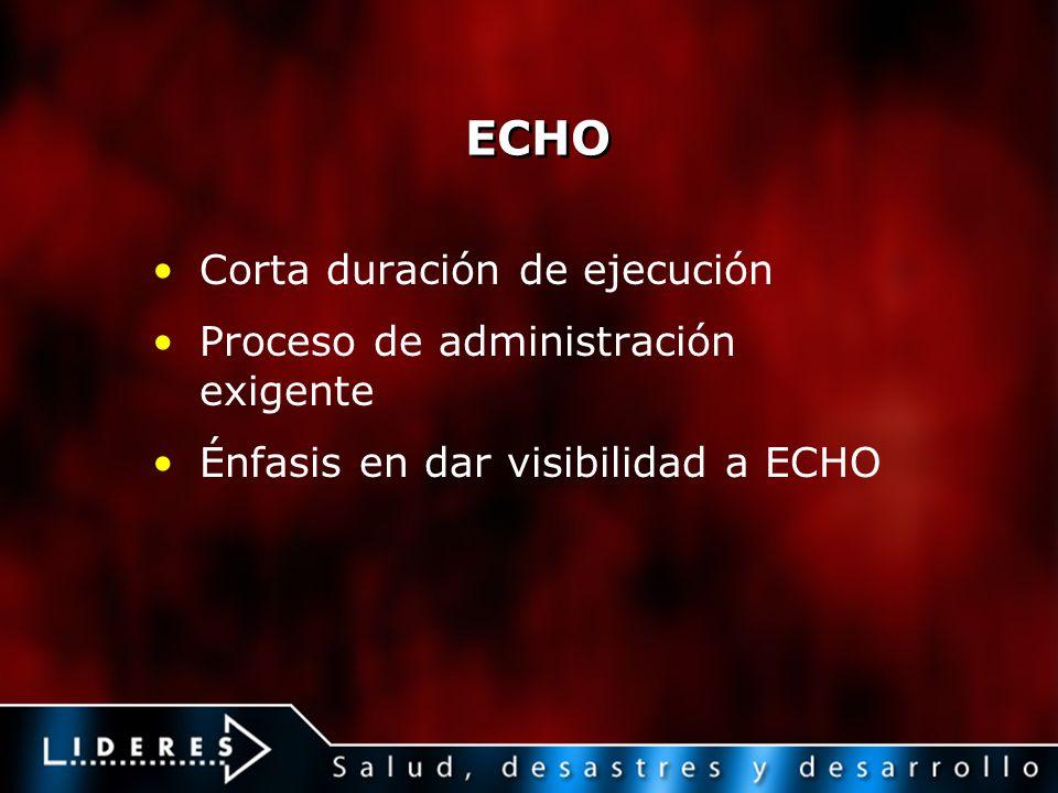 ECHO Corta duración de ejecución Proceso de administración exigente
