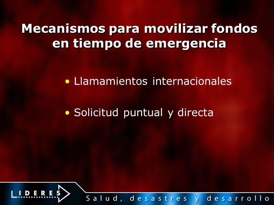Mecanismos para movilizar fondos en tiempo de emergencia