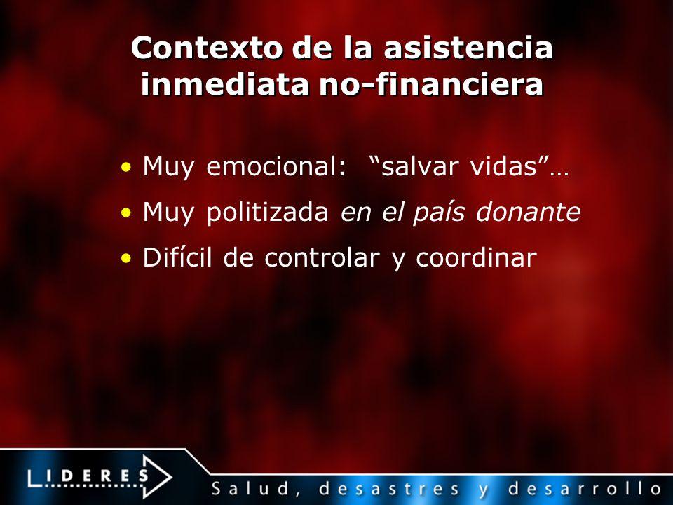 Contexto de la asistencia inmediata no-financiera