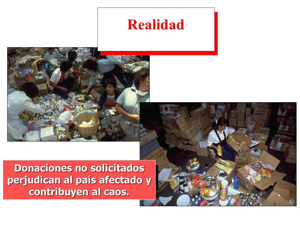Realidad Donaciones no solicitados perjudican al país afectado y contribuyen al caos.