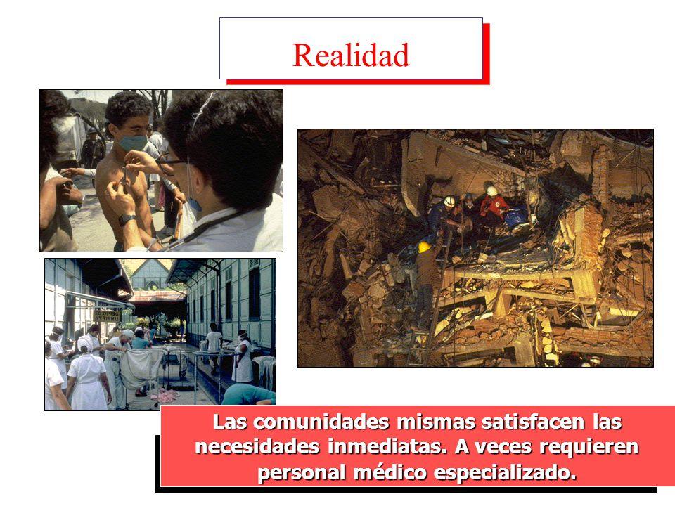 Realidad Las comunidades mismas satisfacen las necesidades inmediatas.