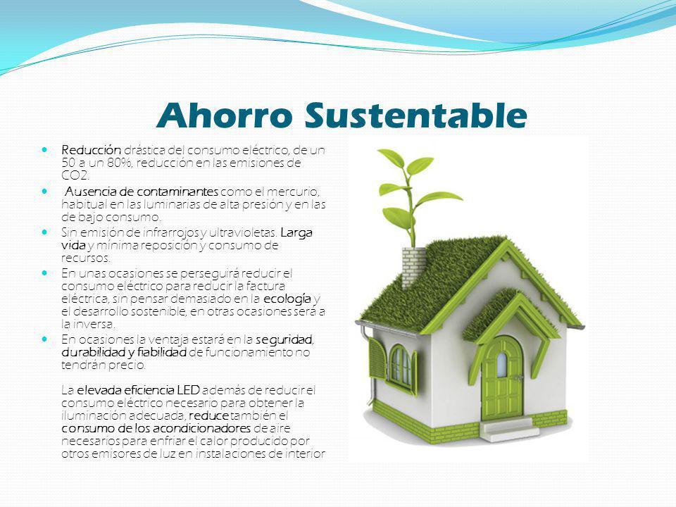 Ahorro Sustentable Reducción drástica del consumo eléctrico, de un 50 a un 80%, reducción en las emisiones de CO2.