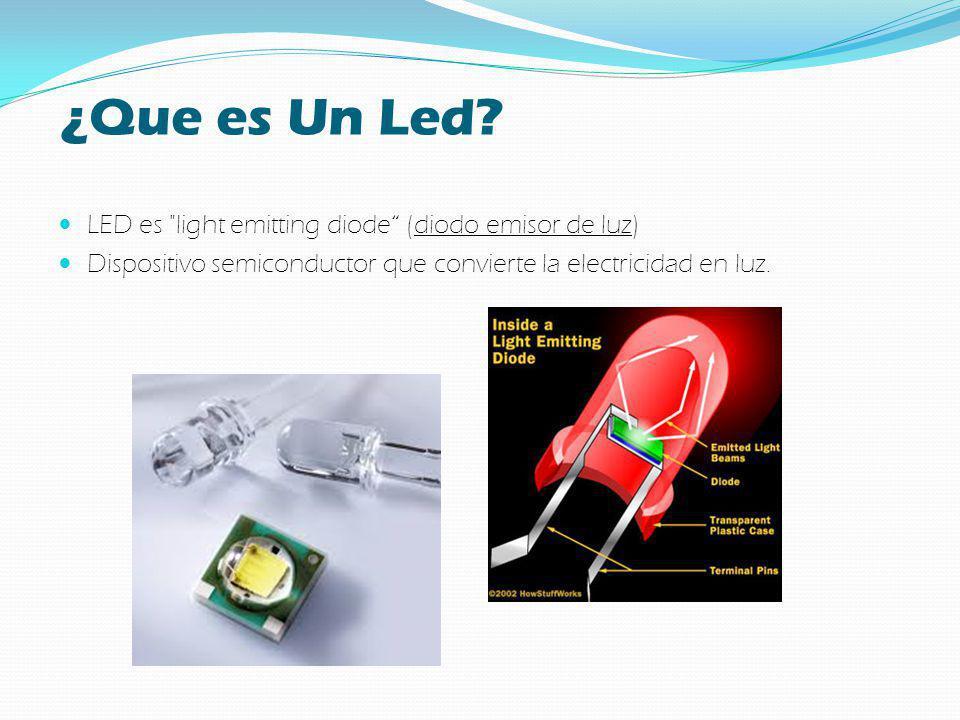 ¿Que es Un Led LED es light emitting diode (diodo emisor de luz)
